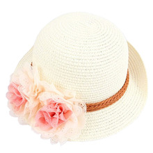 Beige Color Children's Baby Girl Kids Sun Hat Summer Lovely Fashion Straw Hat Beach Cap for 2-7 Year Toddlers Infants