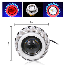 Dual Halo Motorcycle 6000K 1200LM Built-in 12V-85V Projector Hi/Lo Beam Blue Red CCFL LED Angel Devil Eyes Headlight Bulb Kit