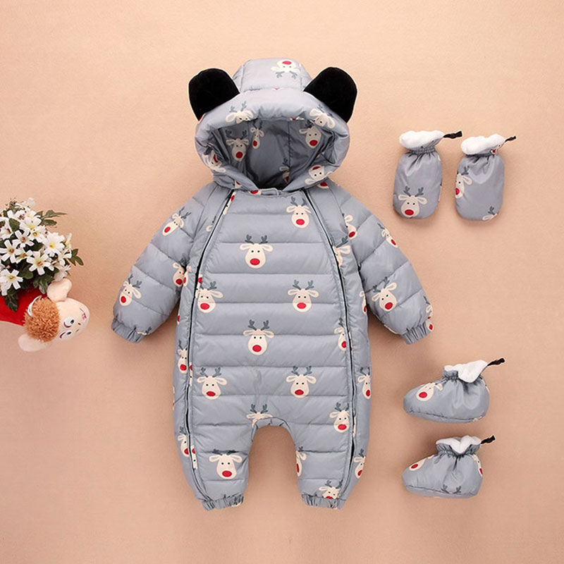 Cartoon Thick Hooded Rompers Winter Overalls for Newborns Childrens Child Outerwear Sport Snowsuit Jumpsuit High Quality 0-12M<br>