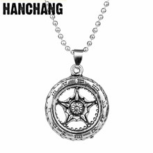 Punk Handmade Velaiole Wheel Locomotive Tires Pendant Machine Bead Chain Necklace For Men Sweat Decoration Birthday Party Gifts(China)