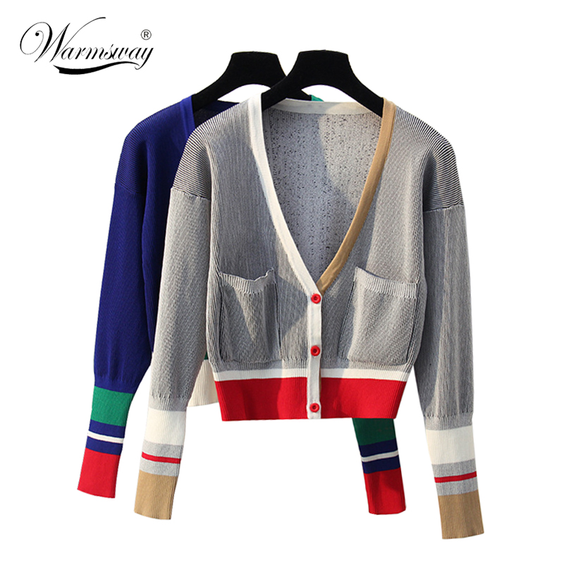 Autumn Winter Women Sweater Contrast Color Striped All-match Jacket Coats Long Sleeve Loose Patchwork Knitting Cardigans  C-198