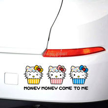 10 x New Design Funny Hello Kitty Money Money  Come to Me Creative Auto Decal Cartoon Car StickerBody Decal Creative Vinyl