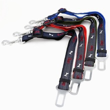 New Thicken jean embroidery Bone dog car Safety Seat Belt 2.5CM pet dog Car Travel Seatbelt adjustable dog Vehicle seat belts(China)