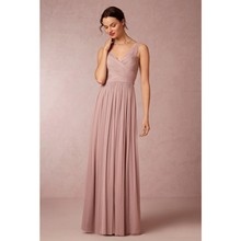 Sexy V Neck Backless Top Lace Chiffon Ruffle Elegant Plum Peach Pink Bridesmaid Dresses For Wedding Bridesmaids Gown
