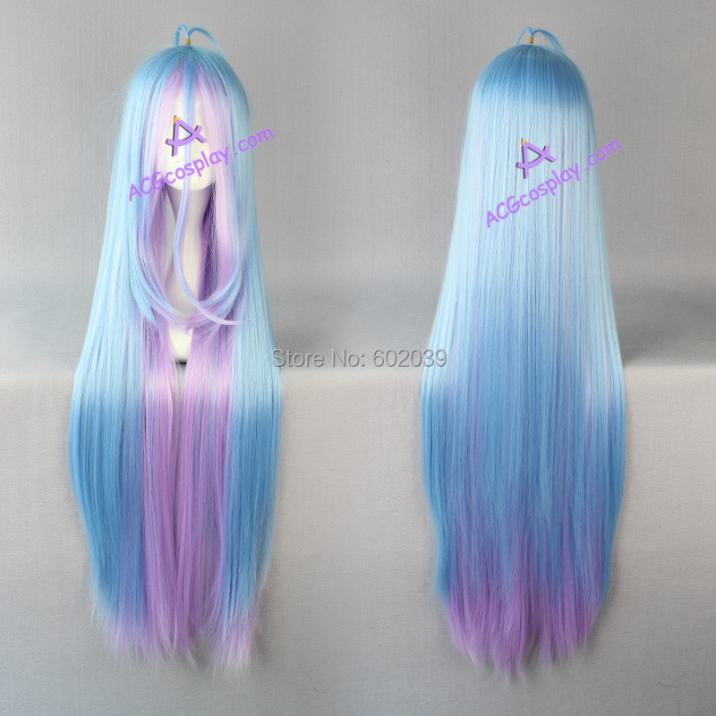NO GAME NO LIFE shiro cosplay wig mixed color long straight wig womens wig party wig<br><br>Aliexpress