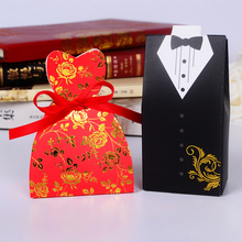 New Design 100pcs Bride Groom shape Paper Favor Box Gift Box +Ribbon For Wedding Favors Gift package candy Box Supplies