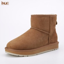 INOE Classic sheepskin leather real sheep fur lined winter short ankle suede snow boots for women winter shoes flats black brown(China)