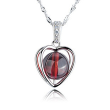 AAA 100% 925 Sterling Silver Pendant Necklace Lovely Heart Pure Natural Garnet Necklaces Fine Jewelry Christmas Gift