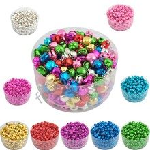 6MM 100 pcs/lot Loose Beads Small Jingle Bells Christmas Decoration Gift Free Shipping Colorful/Mix Color ly(China)