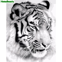 Home Beauty diy painting by numbers acrylic brush picture on canvas tiger wall decor handcraft drawing coloring by number E753(China)