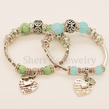 Free Shipping Green And Blue Color Glass Beaded Antique Silver Bead Heart Charm Bracelet Fashion Love Jewelry For Women And Girl(China)