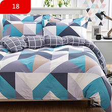 4Pcs/Set Cartoon Pink Bedding Sets Geometric Pattern Bed Linings 4 sizes Grey Blue Duvet Cover Bed Sheet Pillowcases Cover Set(China)