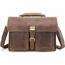 "TIDING Men Genuine Leather 15"" Laptop Bags Large Tote Briefcase Office Cases Lawyer Bag 10319N(China)"