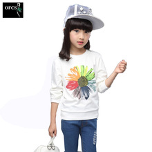 2017 New Girls Clothing Spring Kids Clothes Girls Sunflower Print Outfits t-shirt Beautiful Long Sleeve Children Clothing 3-15Y