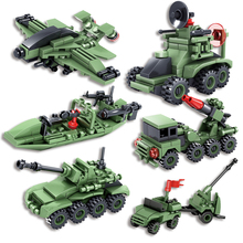 KAZI 6set/lot Military Educational Building Blocks Tank Helicopter Compatible Legoe City Army Model Weapon Gift Toys For Kids