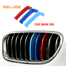 3D M Styling Car Front Grille Trim Sport Strips Cover Motorsport Power Performance Stickers for 2009-2012 BMW 3 Series E90