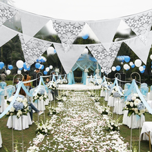 Wholesale 12 White Flower Lace Flags Banners Pennant Wedding/Birthday Party Garden Effect Decoration Triangle Edge Banners(China)