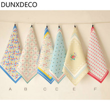 DUNXDECO Table Placemat Cotton Tea Towel Napkin Country Style Freh Flora Print Desk Accessories Photo Ground Fabric Home Decor