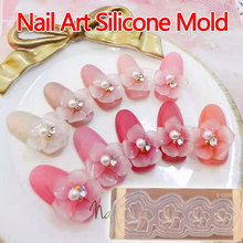 Nail Art Sakura 3D Acrylic Mold for Nail Art Decorations DIY Design Silicone Nail Art Templates Pattern manicure beauty(China)