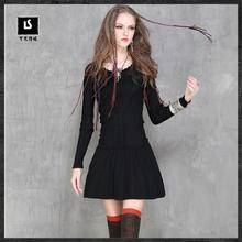 2018 New Spring Brand Retro Pleated Dress Natural Color Women Dress Knitting O-neck Above Knee, Mini A6056 Vintage Dress(China)