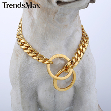 "11/13mm wide Gold Tone Cut Curb Cuban Link 316L Stainless Steel Dog Chain Collar Customize Length 12-30"" DC05-DC06"