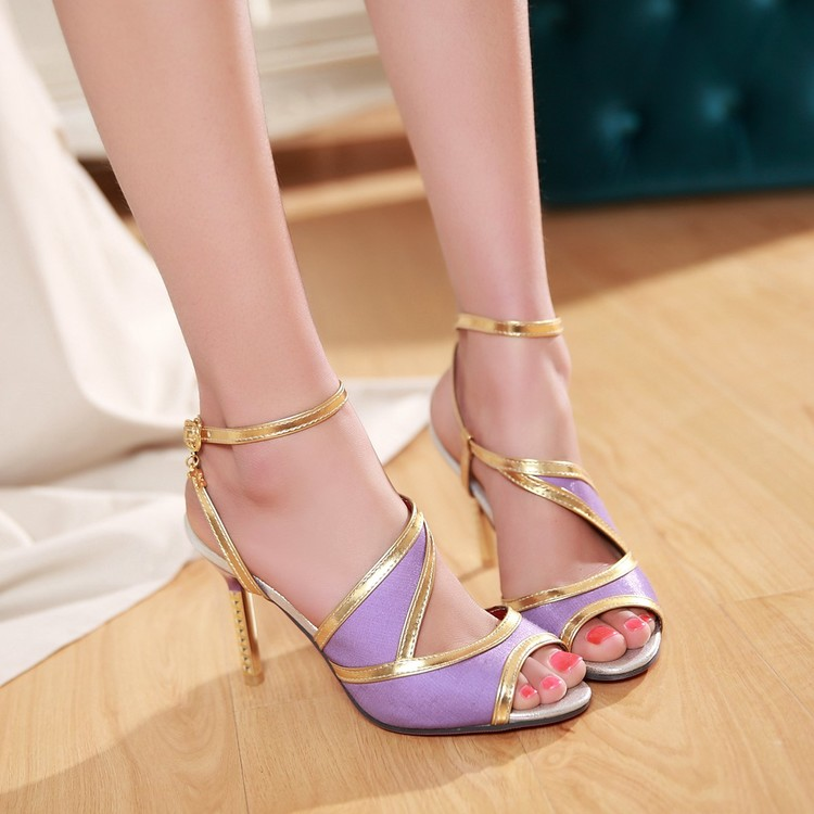 New Elegant 5 Colors 2017 Women Sandals Sweet Peep Toe Thin Heels Sandals Red Blue Black Beige Purple Shoes Woman Plus Size<br><br>Aliexpress