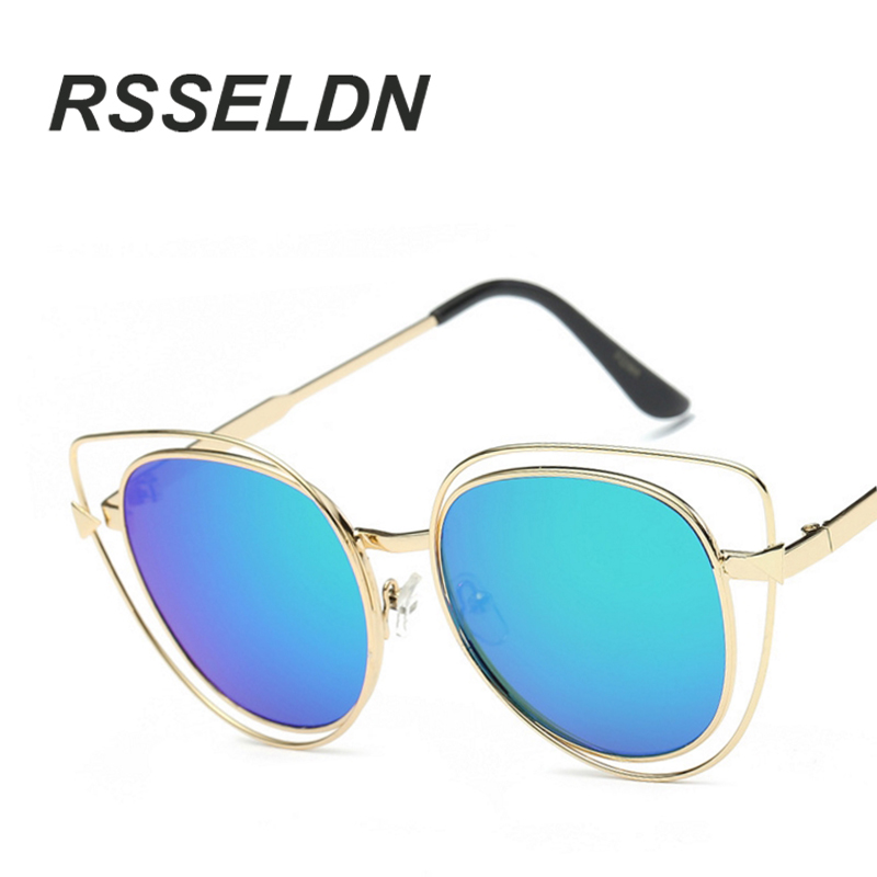 RSSELDN 2017 The New Cat's Eye Sunglasses Woman UV400 Female Sunglasses Famous Brand Designer Alloy Legs Glasses(China (Mainland))