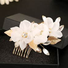 Handmade White Flower Headdress Rhinestone Crystal Headpieces Big Gold Color Wedding Hair Comb Bridal Hair Accessories Jewelry