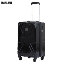 "TRAVEL TALE 18""20""25 inch British flag retro trolley luggage suitcase hardside spinner PC ABS material"