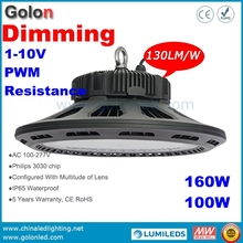 Dimming LED projecteur warehouse factory workshop bus train stastion showroom stadium court160W 100W Dimmable LED high bay light