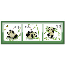 5th Lucky three pandas Patterns Counted Cross Stitch 11CT 14CT Cross Stitch Sets Animals Cross Stitch Kits needlework