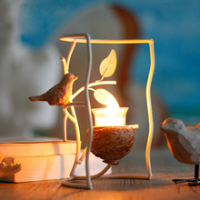 Europe white iron vivid brid nest candle holders wedding candlestick home decoration metal candlestick holder wedding decor gift(China)