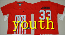 Nike 2017 2016 Youth Ohio State Buckeyes Pete Johnson 33 Ice Hockey Jersey - Red Archie Griffin 45 Braxton Miller 1(China)