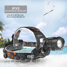 BORUIT RJ-2157 XML L2 LED Headlight 5 Modes Zoom Headlamp POWER BANK Forehead Flashlight Torch Frontal Lantern 18650 Camping