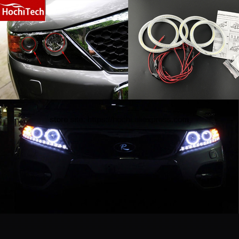 HochiTech Ultra bright SMD white LED angel eyes 2000LM 12V halo ring kit daytime running light DRL for  Kia Sorento R 2009-2012<br>
