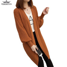 tnlnzhyn 2017 New Autumn Winter Women Sweater V-neck Fashion Puff Sleeves Knitted Cardigan Female Sweater Coat Slim Sweater Y594(China)