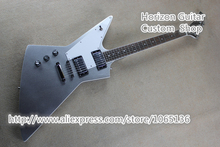 China OEM Music Instruments Exlporer Electric Guitar Silver Color White Pickguard Standard Dot Inlay