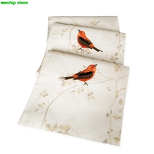 Fashion Embroidery Birds flowers and plants Double-deck cotton table runner American pastoral rainbow stripes Style Table flag