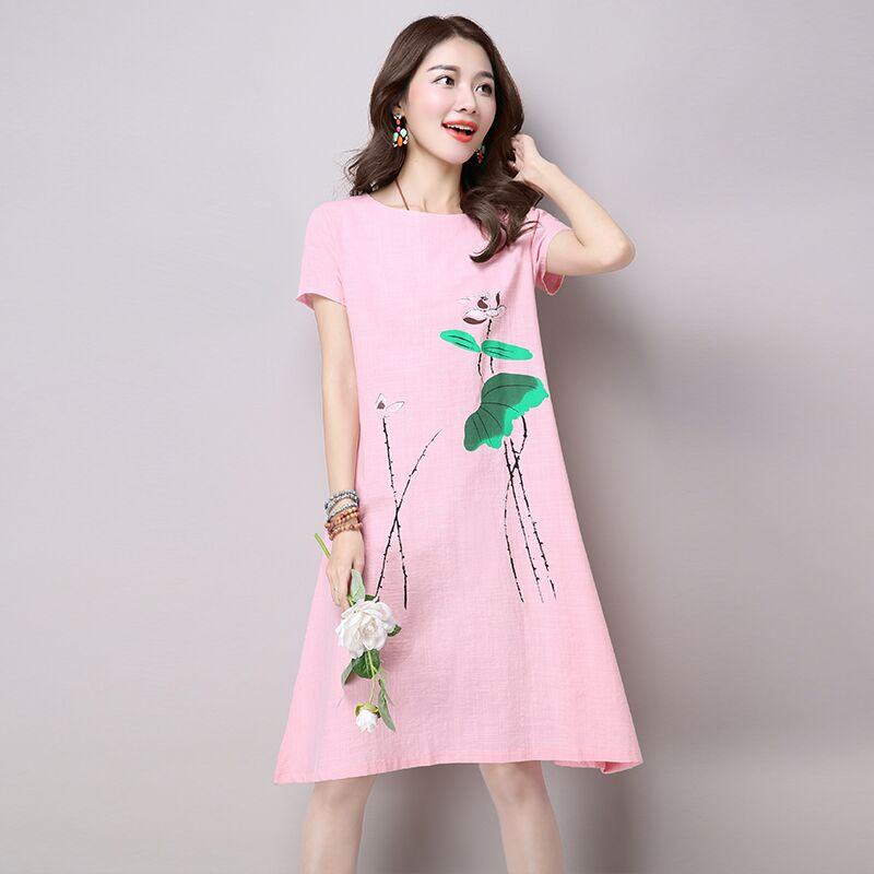 Casual dress New 2018 robe femme cotton linen summer women dresses Print Short Sleeve Plus Size Women Clothing Vestido De Festa