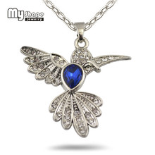 my shape Ocean necklace Blue Crystal Stone Hummingbird bird Charm&Pendant endless jewelry charms jewelry findings components(China)