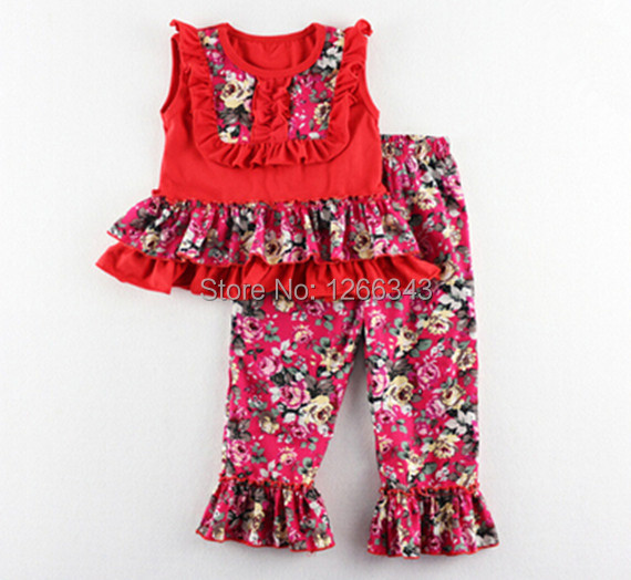 Floral Girls Clothing Set Summer Ruffle Tank Top Pant Set Hot Sale Girls Boutique Clothing<br><br>Aliexpress
