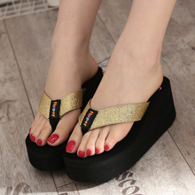 Summer Flip Flops Women Sandals 2016 New Wedges Women's Slippers Flip Flops Fashion High Heels Thick Crust Muffin Sandal
