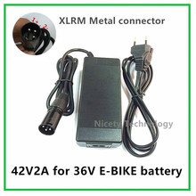 42V2A electric bike lithium battery charger for 36V lithium battery pack XLRM Socket/connector good quality(China)