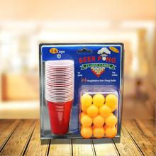 Board Game BEER PONG KIT 24 Ping Pong Balls and 24 Red Solo Cups Fun Party Drinking Game