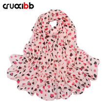 new arrive scarf women lovely heart lady scarf chiffon long all-match scarves spring and autumn winter long scarf(China)