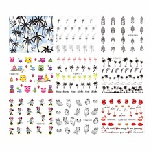 WUF 1 Sheep Optional Coco Owl Cartoon Design Nail Art Stickers Black Lace Design Wraps Decoration Decal DIY Tips