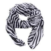 1 pc Fashion Soft Smooth Elegant  Modern Trendy Long Sexy Zebra Printed Chiffon Scarf Women Girls Shawl Wrap Stole Accessories