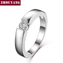 ZHOUYANG 4.5mm Hearts and Arrows Cubic Zirconia Wedding Ring Rose Gold & Silver Color Classical Finger Ring R400 R406(China)