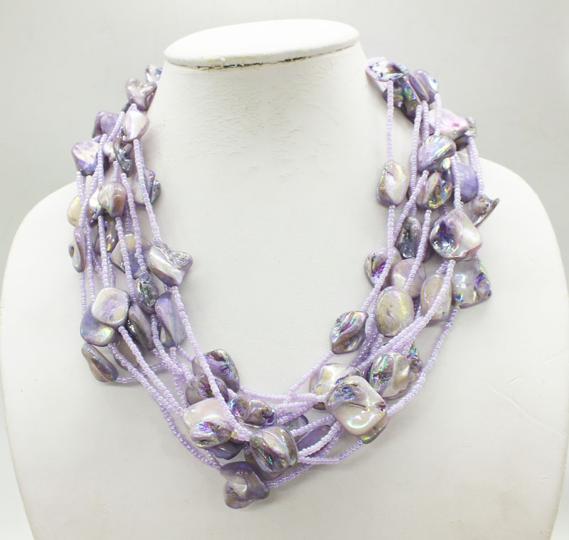 2019-2-19-1301#  Multi-strand, freshwater shell necklace 20""
