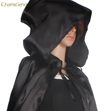 Hooded Cloak Coat Wicca Robe Medieval Cape Shawl Halloween Party S/M/L/XL FOR Sexy Women Beach Dress Cover Up Black Shawl Women(China)